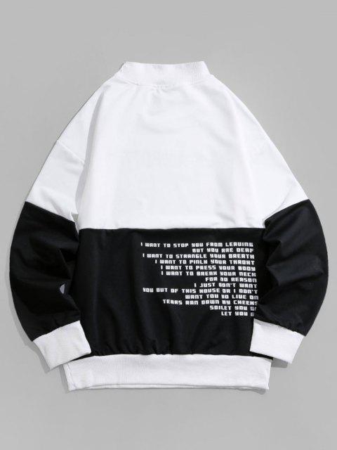 Sweatshirt Lettre Graphique en Blocs de Couleurs à Goutte Epaule - Noir 3XL Mobile