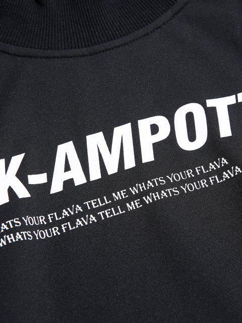 Sweatshirt Lettre Graphique en Blocs de Couleurs à Goutte Epaule - Rouge M Mobile