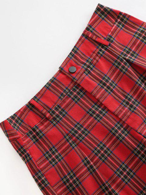 fashion Plaid High Waisted Zipper Fly Shorts - RED M Mobile