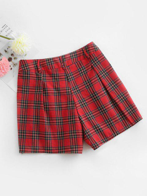 online Plaid High Waisted Zipper Fly Shorts - RED XL Mobile