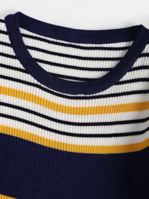 Gestreifter Gerippter Schmaler Pullover - Tiefes Blau Eine Größe Mobile
