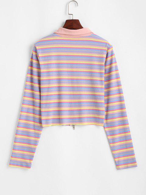 T-shirt Côtelé Rayé Coloré Zippé - Multi S Mobile