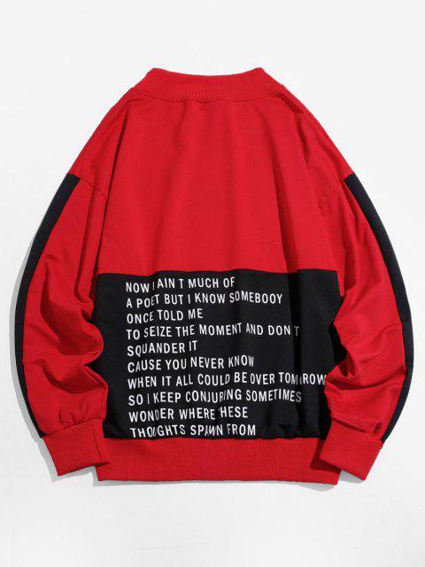 Sweatshirt Lettre Graphique en Blocs de Couleurs à Goutte Epaule - Rouge 3XL Mobile