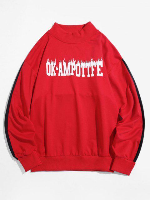 womens Colorblock Letter Graphic Drop Shoulder Sweatshirt - RED 3XL Mobile