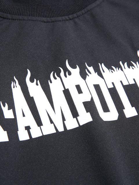 affordable Colorblock Letter Graphic Drop Shoulder Sweatshirt - BLACK M Mobile