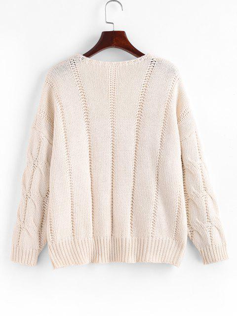 unique Loose Button Up Cable Knit Cardigan - WHITE ONE SIZE Mobile