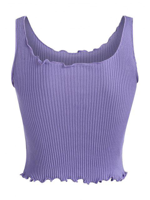 sale Solid Lettuce Trim Knitted Crop Top - LIGHT PURPLE ONE SIZE Mobile