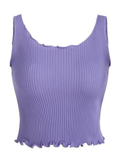 Haut Court Tricoté en Couleur Unie à Ourlet en Laitue - Violet clair Taille Unique Mobile
