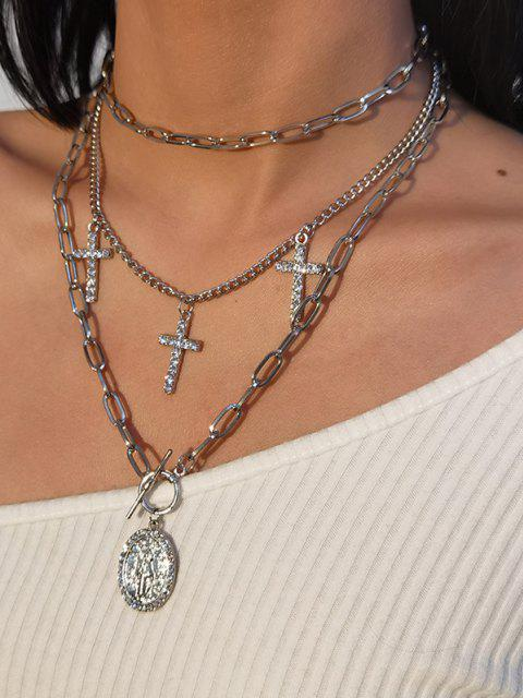 ladies 3Pcs Cross Rhinestone Pendant Necklace Set - SILVER  Mobile