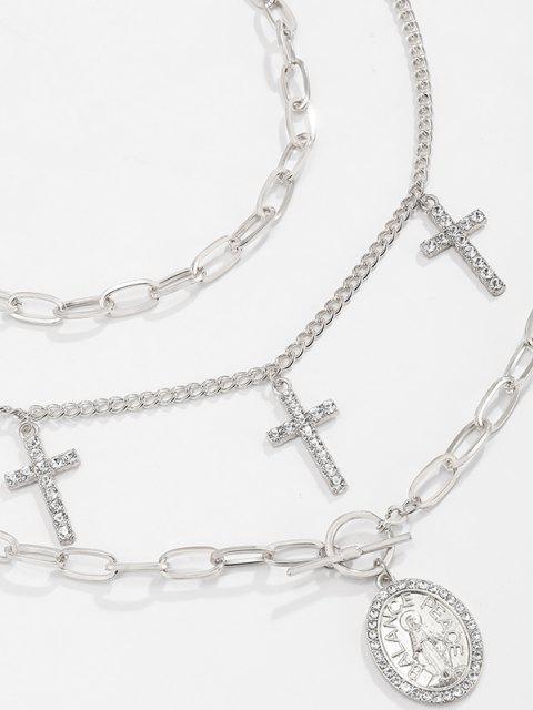 ladies 3Pcs Cross Rhinestone Pendant Necklace Set - SILVER  Mobile