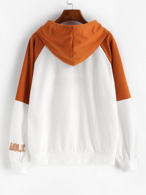 sale Raglan Sleeve Letter Embroidered Contrast Hoodie - WHITE M Mobile