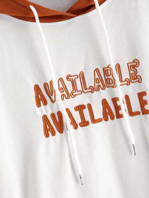 Sweat à Capuche Lettre Brodée Contrasté à Manches Raglan - Blanc XL Mobile