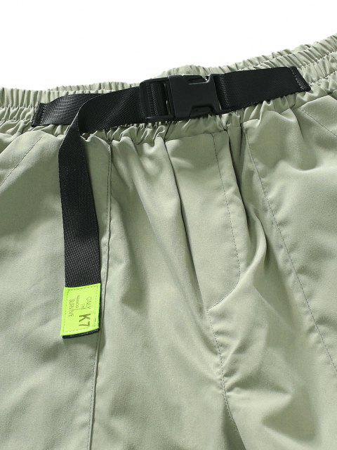 Pantalones de Carga Casuales con Bolsillos con Cintura de Hebilla - Verde claro L Mobile