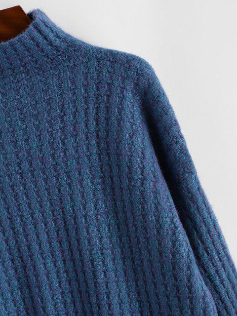affordable High Collar Drop Shoulder High Low Sweater - BLUE ONE SIZE Mobile