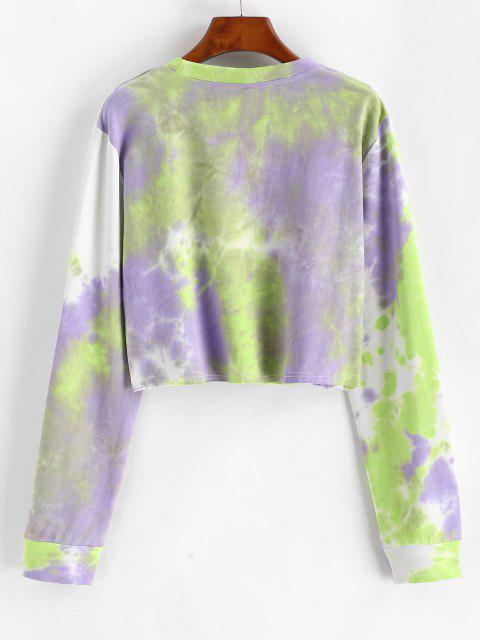 outfits Tie Dye Print Cropped Sweatshirt - LIGHT PURPLE S Mobile