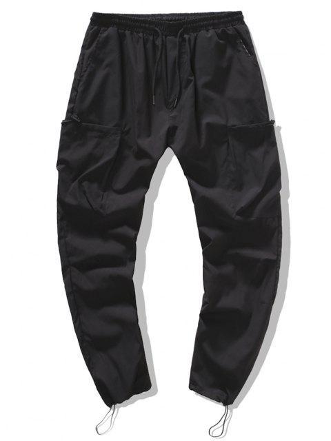 Pantalones Ajustados Estampado Gráfico Letras - Negro XL Mobile