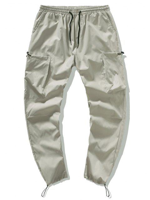chic Letter Graphic Toggle Drawstring Leisure Beam Feet Pants - LIGHT KHAKI XL Mobile
