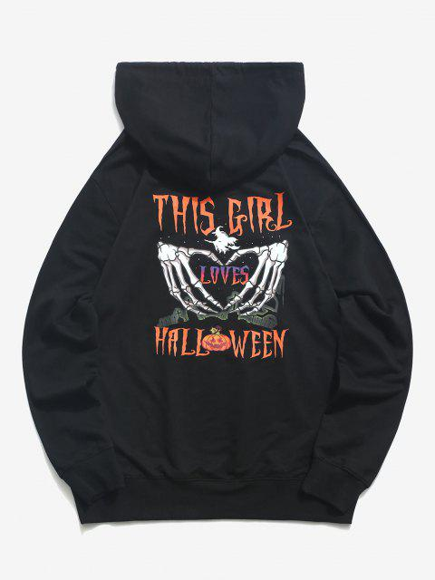trendy Halloween Heart Hands Graphic Pouch Pocket Drawstring Hoodie - BLACK XL Mobile