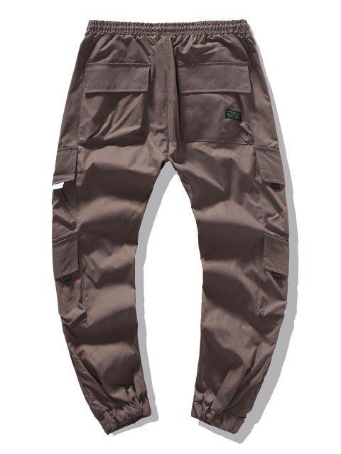 Pantalones de Carga Casuales de Color Sólido con Bolsillos Solapa - Café Profundo M Mobile
