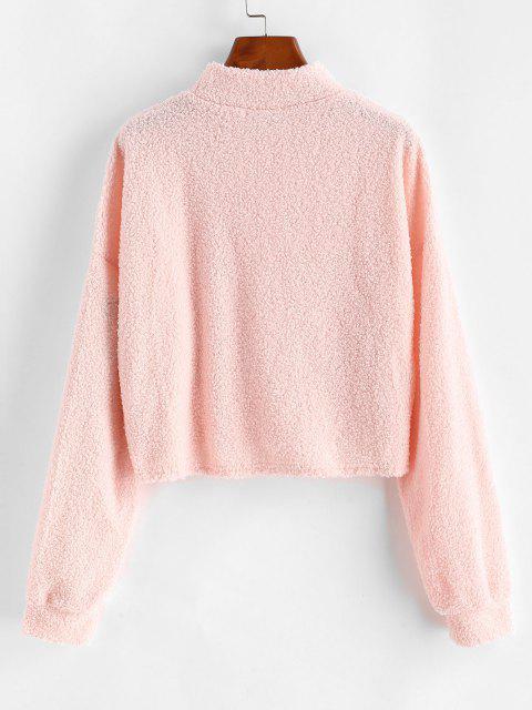 Mock Neck Boxy Teddy Sweatshirt - وردي فاتح S Mobile