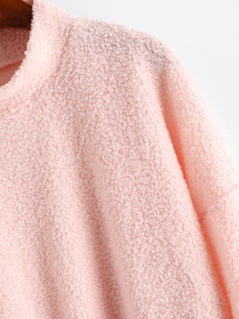 trendy Mock Neck Boxy Teddy Sweatshirt - LIGHT PINK L Mobile