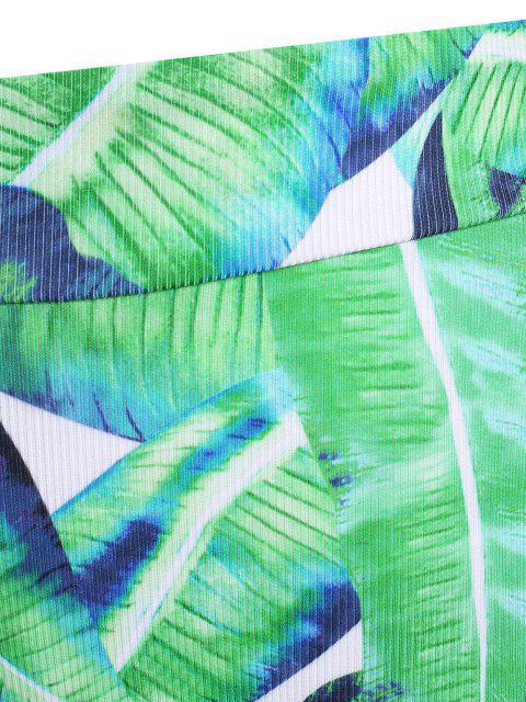 shops ZAFUL High Waisted Leaves Print Plus Size Bikini Bottom - LIGHT GREEN XL Mobile