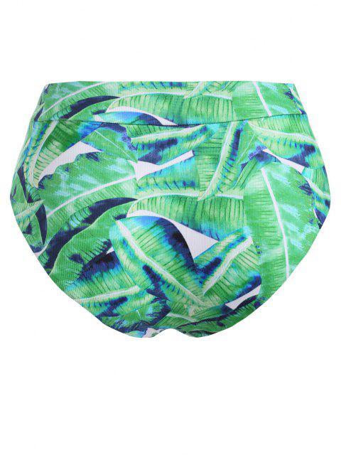 latest ZAFUL High Waisted Leaves Print Plus Size Bikini Bottom - LIGHT GREEN XXL Mobile
