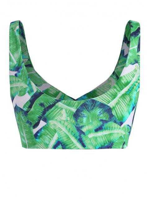 unique ZAFUL Ribbed Leaves Print Surplice Plus Size Bikini Top - LIGHT GREEN XXXL Mobile