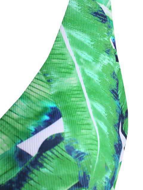 sale ZAFUL Ribbed Leaves Print Surplice Plus Size Bikini Top - LIGHT GREEN XXXXL Mobile