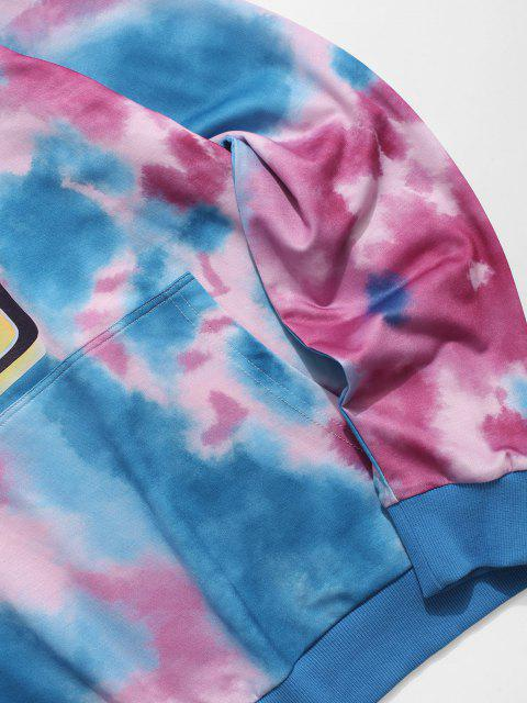 sale ZAFUL Tie Dye Graphic Print Kangaroo Pocket Hoodie - MULTI M Mobile