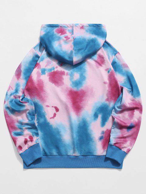 latest ZAFUL Tie Dye Graphic Print Kangaroo Pocket Hoodie - MULTI L Mobile