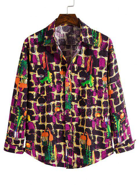 outfit Wall Paint Pattern Casual Button Up Shirt - MULTI S Mobile