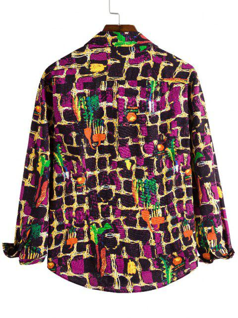 Camisa Casual de Pared de Patrón de Pintura - Multicolor M Mobile