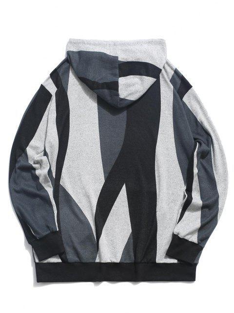 women ZAFUL Colorblock Pattern Knit Hoodie - MULTI S Mobile