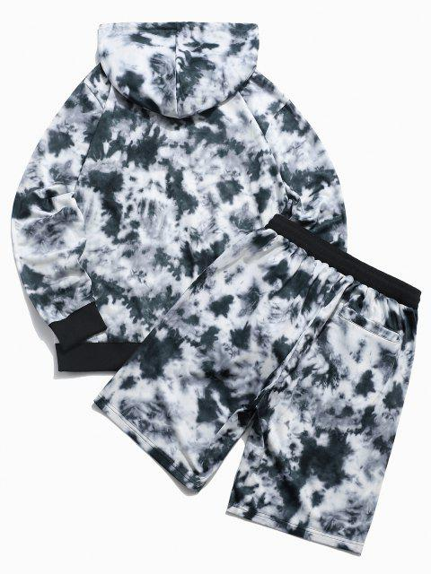 lady ZAFUL Letter Embroidered Tie Dye Print Hoodie and Shorts Two Piece Set - BLACK XL Mobile