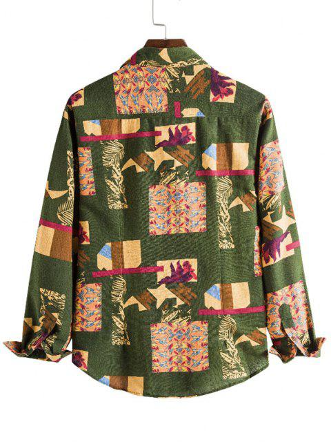 Leaf Pattern Block Casual Button Up Shirt - متعدد S Mobile