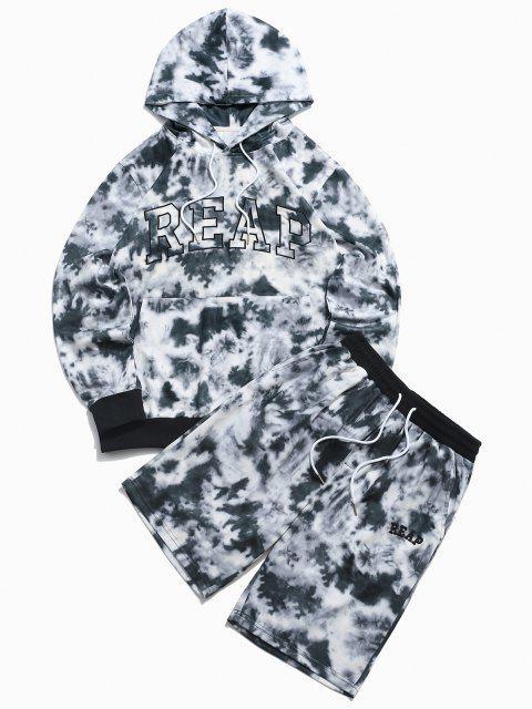 ZAFULレター刺繍タイダイパーカーとショーツ二点セット - ブラック 2XL Mobile