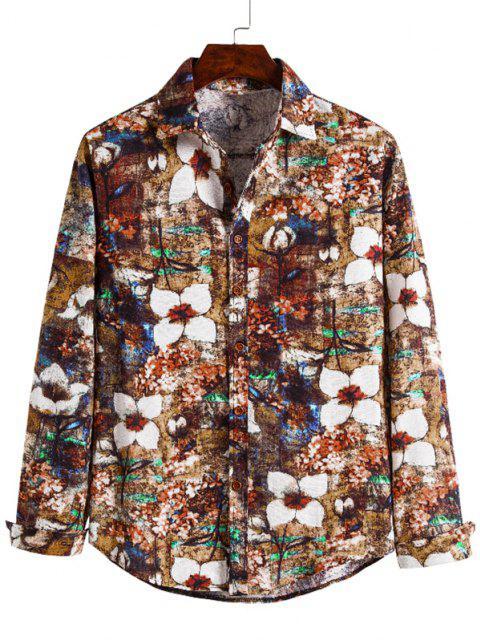 trendy Floral Art Print Button Up Retro Shirt - MULTI 2XL Mobile