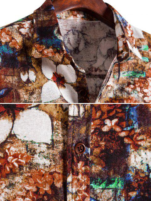 lady Floral Art Print Button Up Retro Shirt - MULTI S Mobile