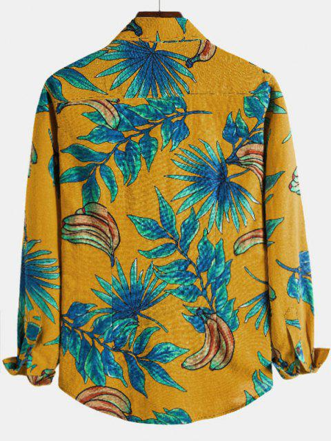 chic Leaf Banana Print Casual Long Sleeve Shirt - YELLOW L Mobile