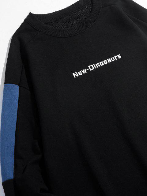 new New Dinosaurs Letter Colorblock Drop Shoulder Sweatshirt - BLACK XL Mobile