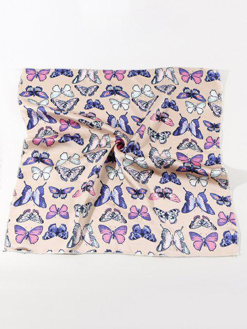 trendy Butterfly Printed Satin Square Scarf - BEIGE  Mobile