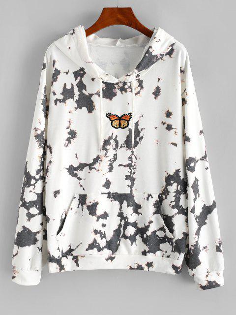 Lou-Ann Vecchia X ZAFUL Tie Dye Butterfly Embroidered Drop Shoulder Hoodie - أبيض M Mobile