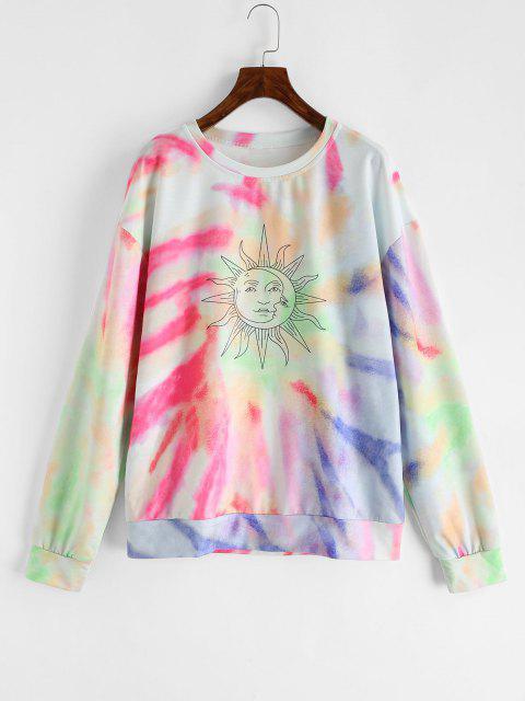 Lou-Ann Vecchia X ZAFUL Drop Shoulder Sun Tie Dye Sweatshirt - متعددة-A S Mobile