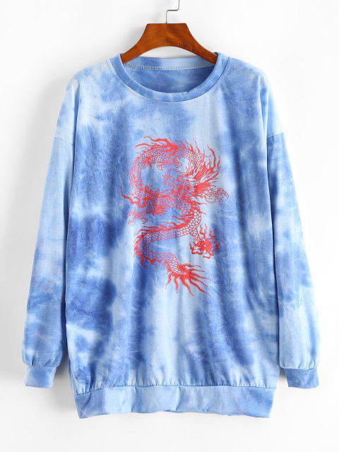 women Lou-Ann Vecchia X ZAFUL Tie Dye Oriental Dragon Print Sweatshirt Dress - BLUE M Mobile