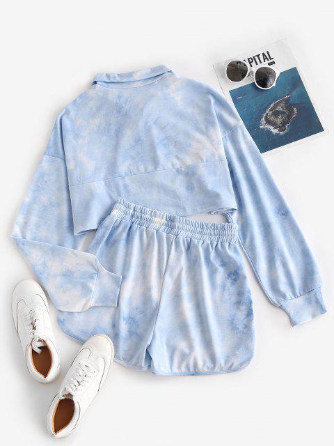 womens Lou-Ann Vecchia X ZAFUL Tie Dye Half Zip Sweat Two Piece Set - BLUE S Mobile