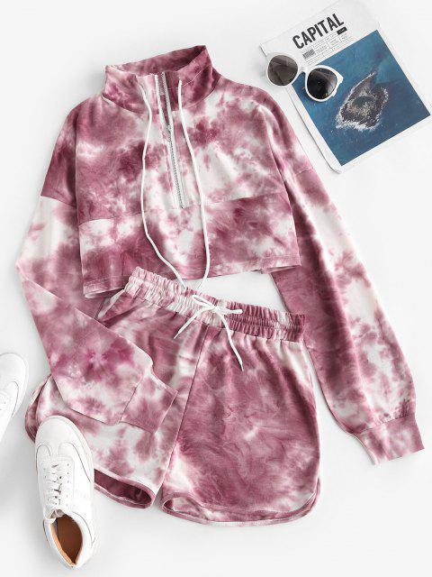 Lou-Ann Vecchia X ZAFUL Tie Dye Half Zip Sweat Two Piece Set - أحمر L Mobile