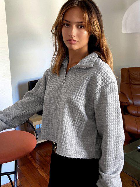 Lou-Ann Vecchia X ZAFUL Pull Ring Marled Raw Hem Sweatshirt - اللون الرمادي L Mobile