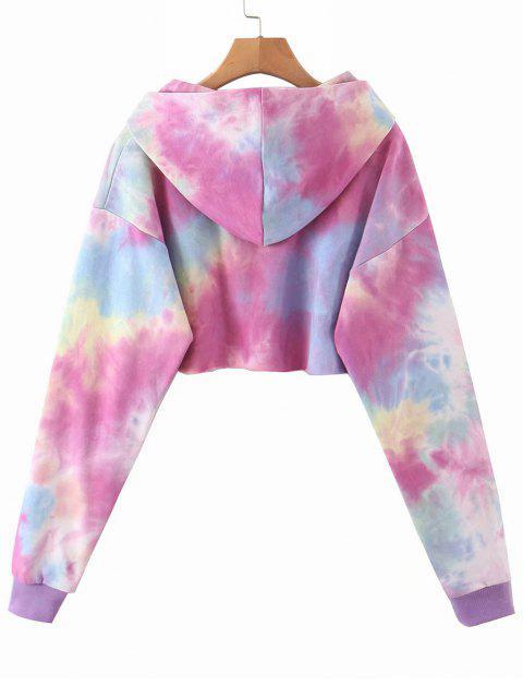 unique Lou-Ann Vecchia X ZAFU Tie Dye French Terry Cropped Hoodie - BRIGHT NEON PINK M Mobile