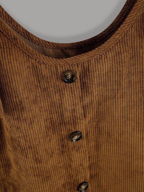 womens Button Up Tie Shoulder Corduroy Pinafore Dress - COFFEE L Mobile